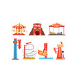 amusement park with family attractions collection vector image vector image