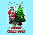 art with santa clause and christmas tree vector image