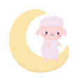 bashower cute sheep on moon decoration cartoon vector image