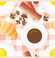 breakfast seamless pattern in flat cartoon style vector image