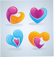 bright and glossy hearts images vector image vector image