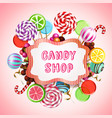 candy shop background composition vector image vector image