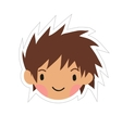 Cartoon boy head flat sticker icon vector image