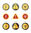 Caution icons set - high woltage exclamation mark vector image