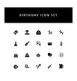 celebration birthday icon set with glyph style vector image vector image