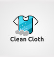 clean cloth logo icon element and template for vector image vector image
