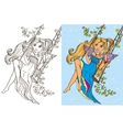 Colouring Book Of Girl Rid On Swing vector image vector image
