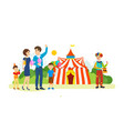couple walks past the playground and circus vector image vector image