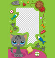 cute happy birthday pets photo frame birthday vector image vector image