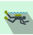 Diving flat icon vector image vector image