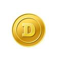 dogecoin crypto currency golden dogecoin coin icon vector image