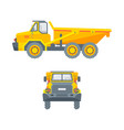 dumper truck side view and front view vector image vector image