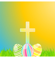 easter eggs and cross vector image vector image
