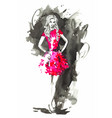 fashion woman in red watercolor vector image