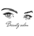 female eyes beauty salon poster art design with vector image