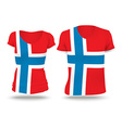 Flag shirt design of Norway vector image vector image