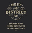 font west district pop vintage letters numbers vector image