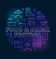 food and drink festival round colorful vector image vector image