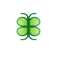 green leaf icon forms the wings of a butterfly vector image vector image