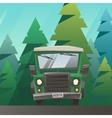 Green off road truck ride through the forest vector image vector image