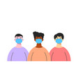 group different ethnic men wearing medical vector image vector image