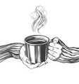 hands a girl holding a cup coffee tea good vector image