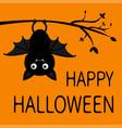 happy halloween hanging on tree branch cute vector image vector image