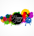 happy holi with colorful splash vector image vector image