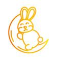 happy mid autumn festival cute bunny sleeping vector image vector image