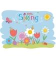 Hello Spring cute greeting card vector image