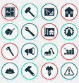 industrial icons set with construction helmet vector image