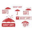 keep dry umbrella grungy isolated box signs set vector image vector image
