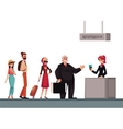 Line to airport check-in passenger and baggage vector image