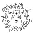 mom bear and son flower vector image vector image