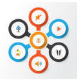 music flat icons set collection of quiet button vector image vector image