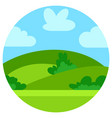 natural cartoon landscape in circle vector image