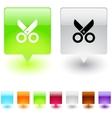 scissors square button vector image vector image