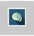 Seashell flat stamp Summer Vacation vector image vector image