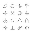 set line icons of arrows vector image vector image