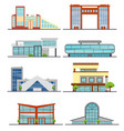 set of city modern buildings vector image