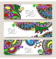 set of decorative flower template banner vector image vector image