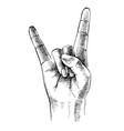 sketched rock sign gesture vector image vector image