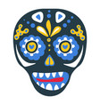 skull with make up ornaments and decorative flora vector image