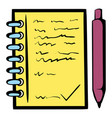 spiral notebook and ballpoint pen icon vector image vector image
