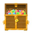 treasure chest full various diamonds vector image