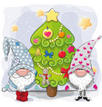 two cute gnomes and christmas tree vector image vector image