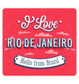vintage greeting card from rio de janeiro vector image