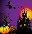background with house by pumpkin and eagle owl vector image