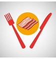 grill fast food concept grilled bacon vector image