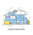 cloud computing data storage web services flat vector image